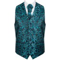 Teal on Black Swirl Leaf Wedding Waistcoat #AB-WW1000/2