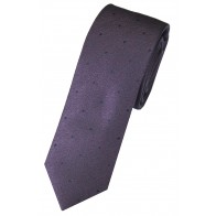 Purple Flecked with Navy Spots Woven Silk Slim Tie and Hankie Set