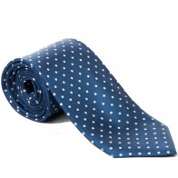 Navy with White Polka Dot Silk Tie with Matching Pocket Square