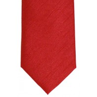 Tomato Red Shantung Tie with Matching Pocket Hankie