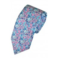 Pale Pink Anime Flower Printed Cotton Tie with Matching Pocket Square