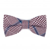 Burgundy Check Bow Tie #AB-BB1007/3