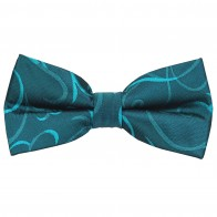 Teal Modern Scroll Wedding Bow Tie #AB-BB1002/5