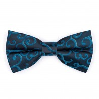 Teal on Black Royal Swirl Bow Tie #AB-BB1001/12