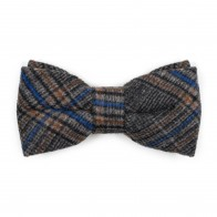 Grey Overcheck Wool Bow Tie #AB-BB1020/2