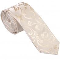 Cream Swirl Leaf Slim Wedding Tie #AB-C1000/11