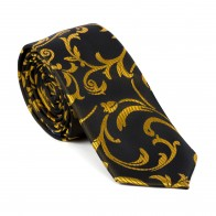 Gold on Black Swirl Leaf Slim Tie #AB-C1000/15