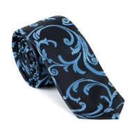 Morning Blue on Black Swirl Leaf Slim Tie #AB-C1000/17