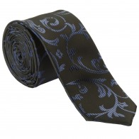 Navy on Black Swirl Leaf Slim Wedding Tie #AB-C1000/4