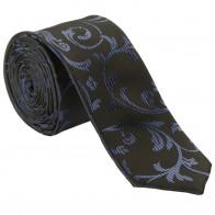 Navy on Black Swirl Leaf Slim Wedding Tie #AB-C1000/4