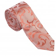 Coral Swirl Leaf Slim Wedding Tie #AB-C1000/9