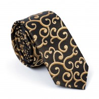 Gold on Black Royal Swirl Slim Tie #AB-C1001/11