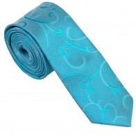 Turquoise Modern Scroll Slim Wedding Tie #AB-C1002/2