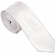 Ivory Modern Scroll Slim Wedding Tie #AB-C1002/4