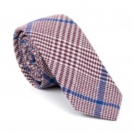 Burgundy Check Slim Tie #AB-C1007/3