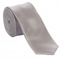 Silver Shantung Tie with Matching Pocket Hankie