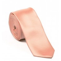 Peach Satin Tie with Matching Pocket Square
