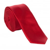 Ruby Satin Tie with Matching Pocket Square