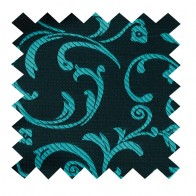 Teal on Black Swirl Leaf Swatch #AB-SWA1000/2