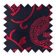 Wine on Black Budding Paisley Swatch #AB-SWA1003/6