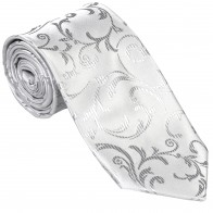 Silver Swirl Leaf Wedding Tie #AB-T1000/10