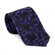 Purple on Black Swirl Leaf Tie #AB-T1000/14