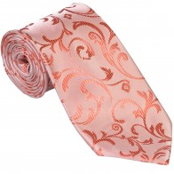 Coral Swirl Leaf Wedding Tie #AB-T1000/9