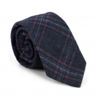 Navy Blue Overcheck Wool Tie #AB-T1020/3