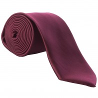 Wine Satin Tie with Matching Pocket Square