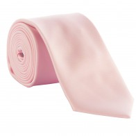 Pink Satin Tie with Matching Pocket Square