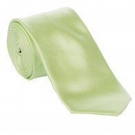 Lime Satin Tie with Matching Pocket Square