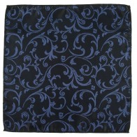 Navy on Black Swirl Leaf Wedding Pocket Square #AB-TPH1000/4