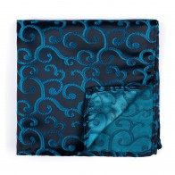 Teal on Black Royal Swirl Pocket Square #AB-TPH1001/12