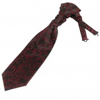 Burgundy on Black Swirl Leaf Wedding Cravat #AB-WCR1000/1