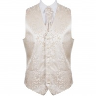 Cream Swirl Leaf Formal Waistcoat #AB-WW1000/11