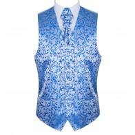 Blue Swirl Leaf Wedding Waistcoat #AB-WWA1000/18