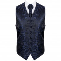 Navy on Black Swirl Leaf Wedding Waistcoat #AB-WWA1000/4