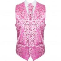 Hot Pink Swirl Leaf Wedding Waistcoat #AB-WW1000/5