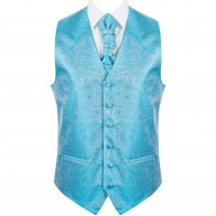 Turquoise Modern Scroll Formal Waistcoat #AB-WWA1002/2