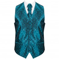 Teal Modern Scroll Formal Waistcoat #AB-WW1002/5