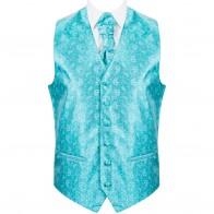 Teal Budding Paisley Wedding Waistcoat #AB-WW1003/3
