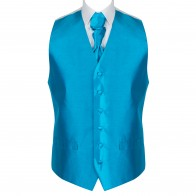 Crystal Teal Shantung Wedding Waistcoat #AB-WW1005/2