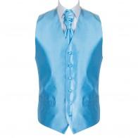Baby Blue Shantung Wedding Waistcoat #AB-WW1005/5