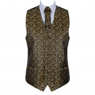 Gold on Black Royal Swirl Waistcoat #AB-WWA1001/11