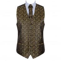 Gold on Black Royal Swirl Waistcoat #AB-WWA1001/11