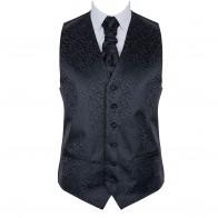 Black on Black Royal Swirl Waistcoat #AB-WWA1001/8