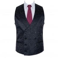 Black Double Breasted Shawl Waistcoat, Swirl Leaf #AB-WWC1000/3