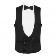 Black Tuxedo Waistcoat, 100% Wool #AB-WWD1011/1
