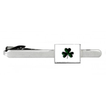 Silver Irish Shamrock Rhodium Plated Tie Clip #100-0110