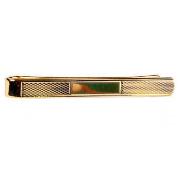 Gold Barley With Center Space Gold Plated Tie Clip #100-2878
